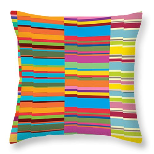 Abstract Background Color Colored Colorful Colour Coloured Colourful Line Lines Patterned Patterns Pink Stripe Stripes Structure Abstract Array Art Assorted Assortment Background Bands Canvas Colorful Colors Colours Design Display Diversity Lines Mixture Motif Pattern Print Range Retro Streaks Stripes Strips Style Variety Distort Line Vibrant Concept Conceptual Creative Decor Decoration Decorative Throw Pillow featuring the painting Colorful Stripes by Ramneek Narang