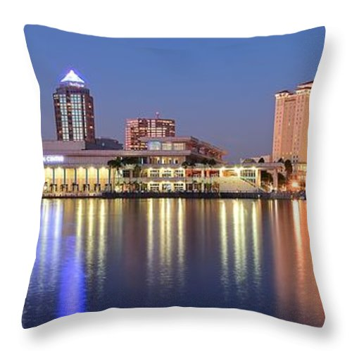 Tampa Throw Pillow featuring the photograph Colorful Tampa Panorama by Frozen in Time Fine Art Photography