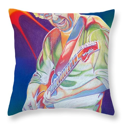 Phish Throw Pillow featuring the drawing Colorful Trey Anastasio by Joshua Morton