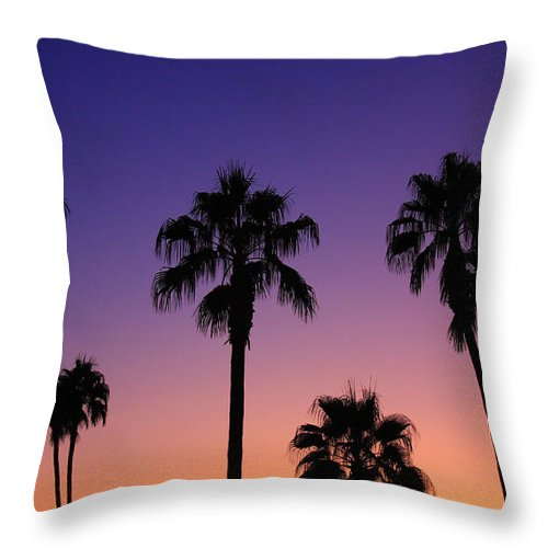 Sunsets Throw Pillow featuring the photograph Colorful Tropical Palm Tree Sunset by James BO Insogna