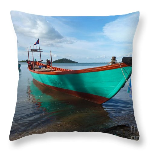 Asia Throw Pillow featuring the photograph Colorful Turquoise Boat Near The Cambodia Vietnam Border by Jason Rosette