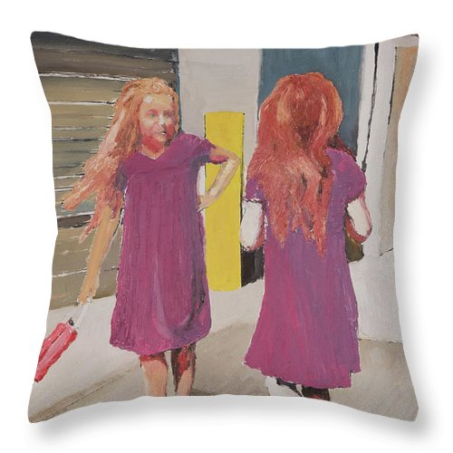 Twins Throw Pillow featuring the painting Colorful Twins by Craig Newland