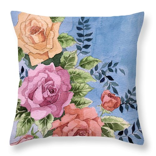 Roses Throw Pillow featuring the painting Colorfull Roses by Alban Dizdari