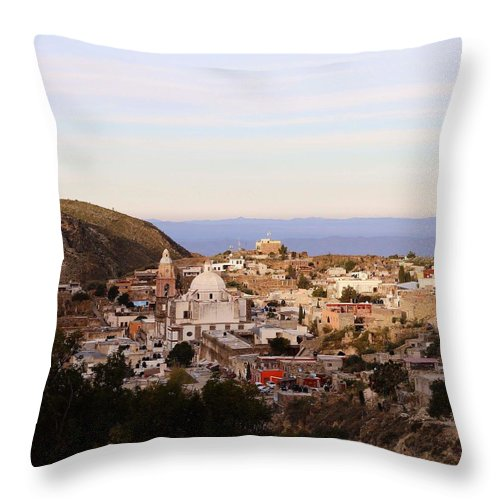 Town Throw Pillow featuring the photograph Colorfusk Dusk Sky Over A Typical Mexican Town by Seb Estrada