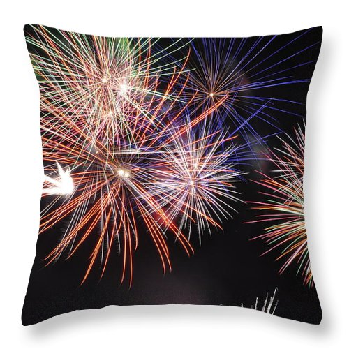 Fireworks Throw Pillow featuring the photograph Colors by Glenn Gordon