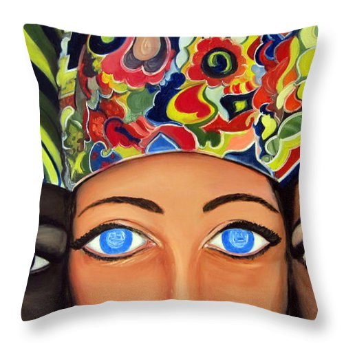 People Throw Pillow featuring the painting Colors by Leonardo Ruggieri