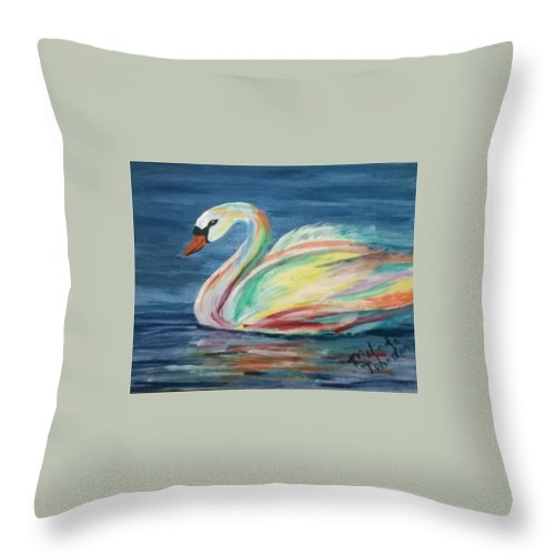 Colors Of A Swan Throw Pillow For Sale By Melinda Johnston