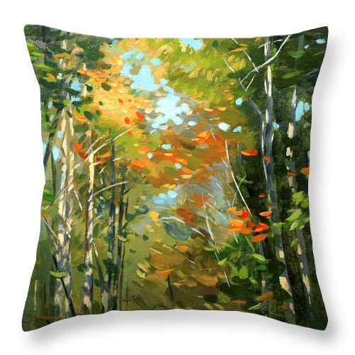 Fall Throw Pillow featuring the painting Colors Of Early Fall by Mei He
