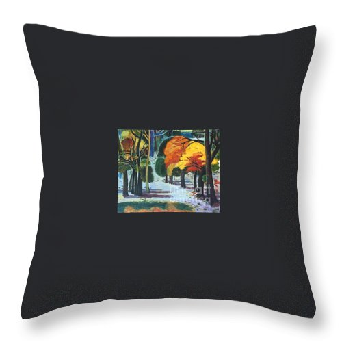 Colors Throw Pillow featuring the painting Colors Of Fall by Meihua Lu