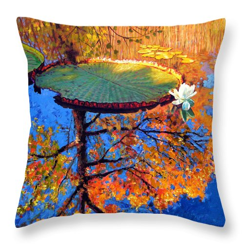 Fall Throw Pillow featuring the painting Colors Of Fall On The Lily Pond by John Lautermilch