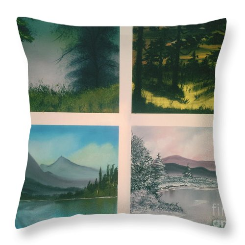Landscape's Throw Pillow featuring the painting Colors Of Landscape 2 by Jim Saltis