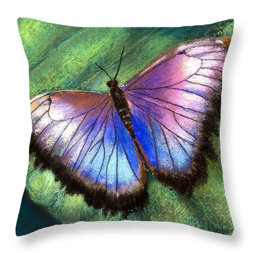 Butterfly Throw Pillow featuring the photograph Colors Of Nature - Hunawihr Morpho by Arline Wagner
