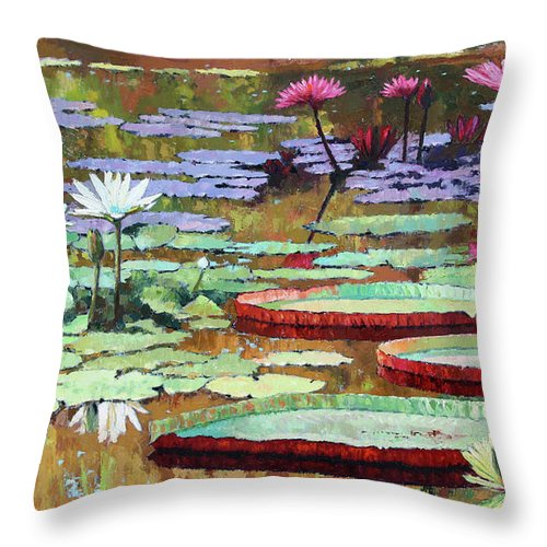 Garden Pond Throw Pillow featuring the painting Colors on the Lily Pond by John Lautermilch