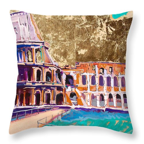 Rome Throw Pillow featuring the painting Colosseum by Kurt Hausmann