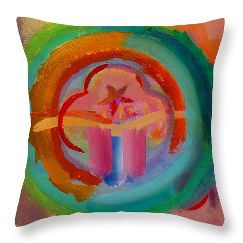 Logo Throw Pillow featuring the painting Colour States by Charles Stuart