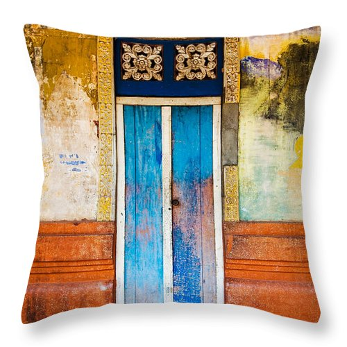 Cambodia Throw Pillow featuring the photograph Colourful Door by Dave Bowman