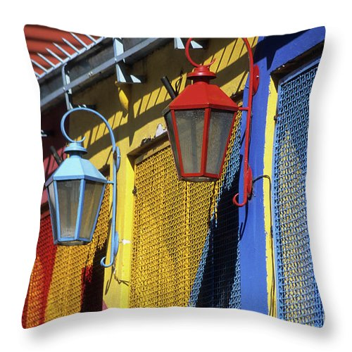 Buenos Aires Throw Pillow featuring the photograph Colourful Lamps La Boca Buenos Aires by James Brunker