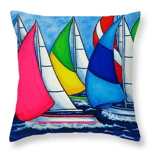 Boats Throw Pillow featuring the painting Colourful Regatta by Lisa Lorenz