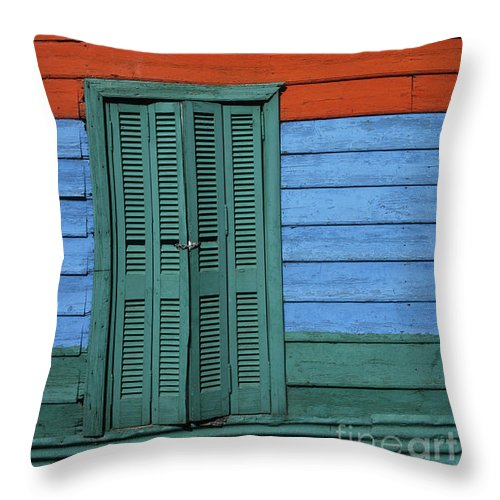 Buenos Aires Throw Pillow featuring the photograph Colourful Shutters La Boca Buenos Aires by James Brunker
