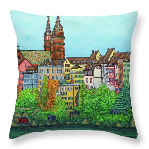Lisa Lorenz Throw Pillow featuring the painting Basel, Colours of Basel by Lisa Lorenz