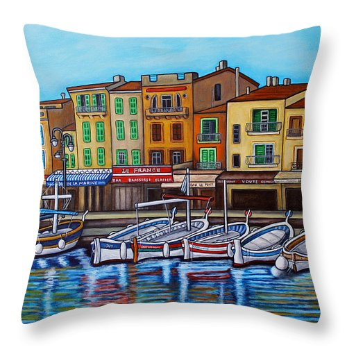 Cassis Throw Pillow featuring the painting Colours of Cassis by Lisa Lorenz