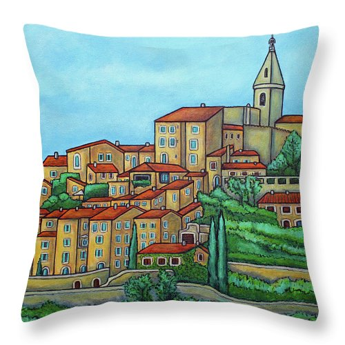 Provence Throw Pillow featuring the painting Colours of Crillon-le-Brave, Provence by Lisa Lorenz