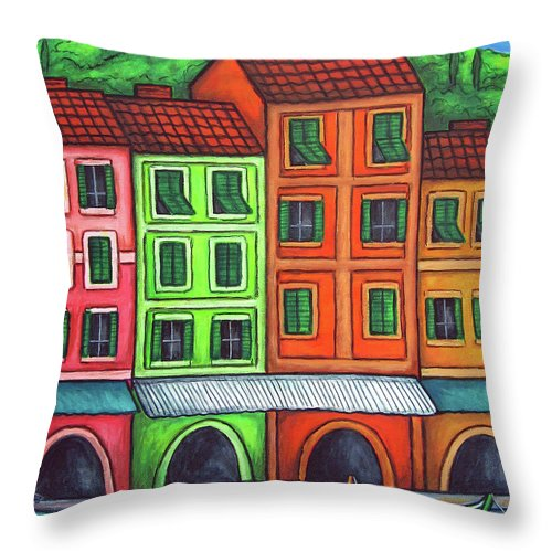 Italy Throw Pillow featuring the painting Colours Of Liguria by Lisa Lorenz