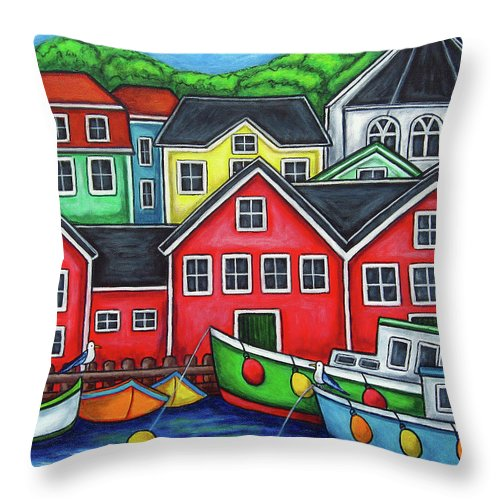 Nova Scotia Throw Pillow featuring the painting Colours of Lunenburg by Lisa Lorenz