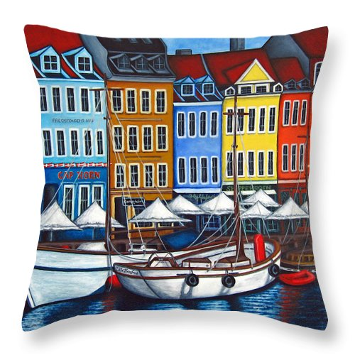 Nyhavn Throw Pillow featuring the painting Colours Of Nyhavn by Lisa Lorenz