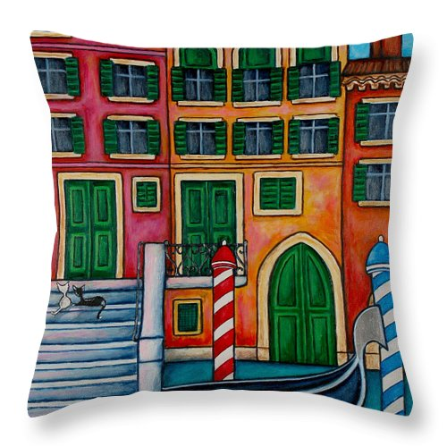 Venice Throw Pillow featuring the painting Colours Of Venice by Lisa Lorenz