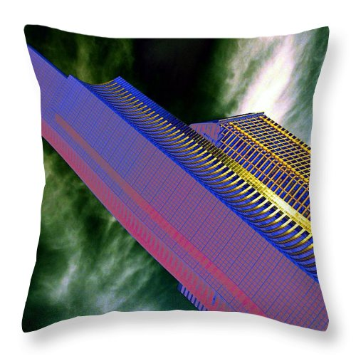 Seattle Throw Pillow featuring the digital art Columbia And Municipal Towers Seattle Wa by Tim Allen