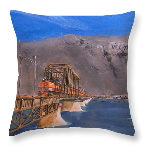 Train Throw Pillow featuring the painting Columbia Crossing by Christopher Jenkins