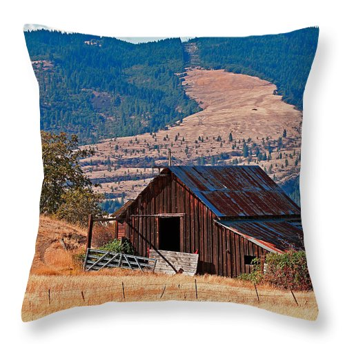Architecture Throw Pillow featuring the photograph Columbia River Barn by Peter Tellone