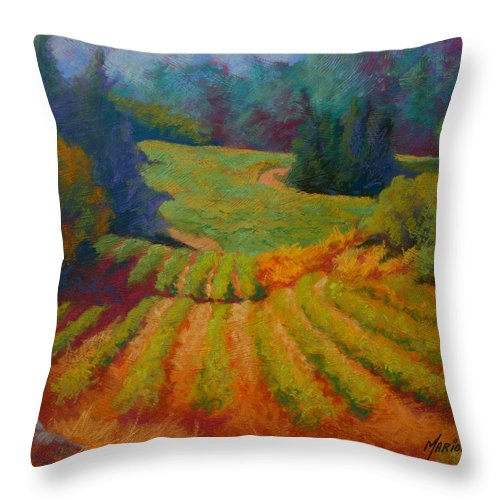 Pastel Throw Pillow featuring the painting Columbia Valley Vineyard by Marion Rose