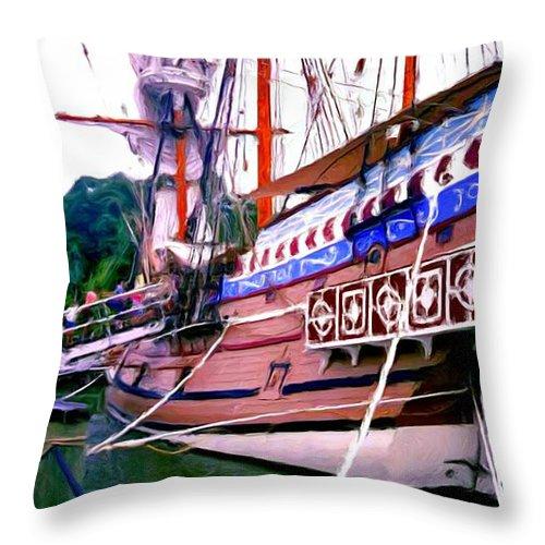 Columbus Day Celebration Throw Pillow featuring the painting Columbus Day Celebration by Methune Hively