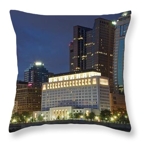 Columbus Throw Pillow featuring the photograph Columbus Night Panorama by Frozen in Time Fine Art Photography
