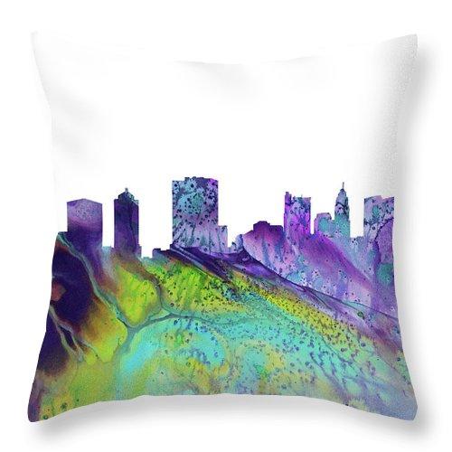 Columbus City Skyline Throw Pillow featuring the digital art Columbus Skyline 3 by Erzebet S