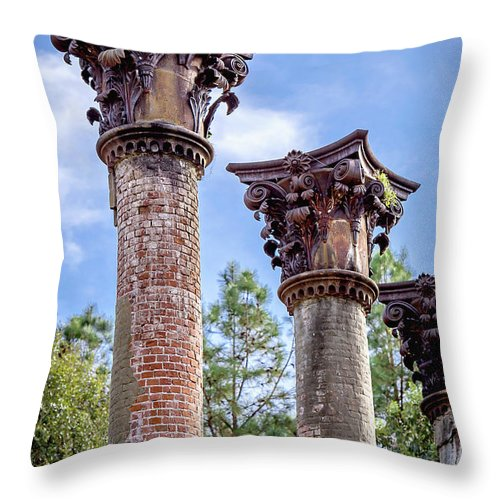 Windsor Throw Pillow featuring the photograph Columns Of Windsor Ruins by Joan McCool