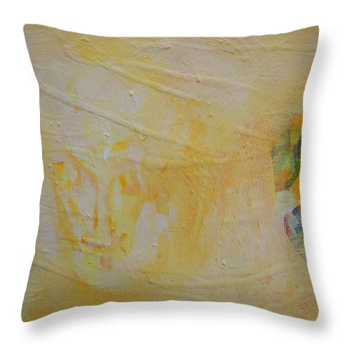 Abstract Throw Pillow featuring the painting Come Back Fading Twin by Judith Redman