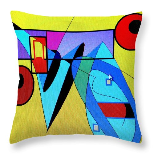 Horn Throw Pillow featuring the digital art Come Blow Your Horn by Ian MacDonald