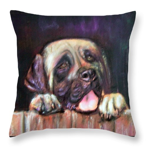Pet Portrait Throw Pillow featuring the painting Come Play With Me by Darla Joy Johnson
