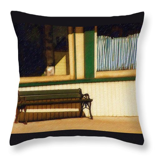 Bench Throw Pillow featuring the photograph Come Sit A Spell by Sandy MacGowan