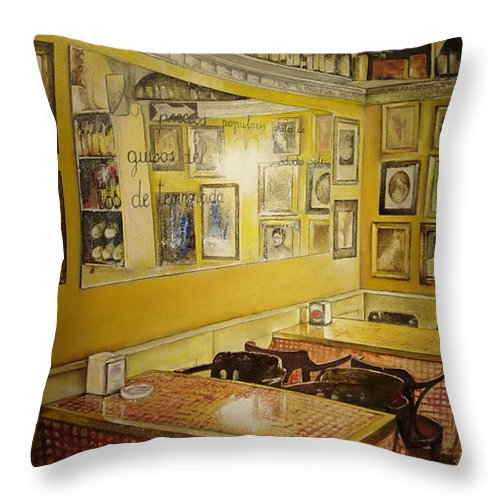 Interior Throw Pillow featuring the painting Comedor interior by Tomas Castano