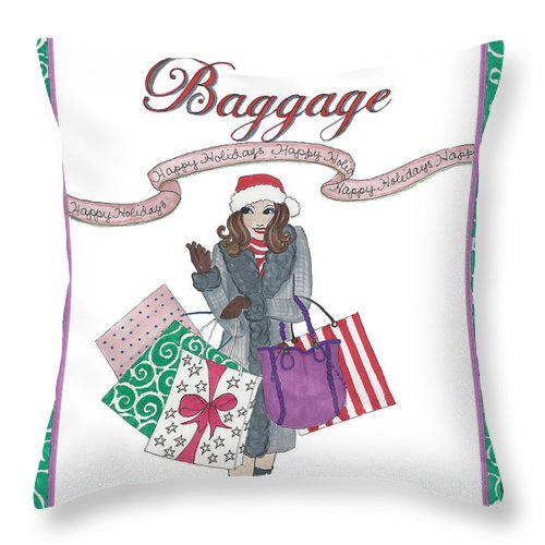 Holiday Throw Pillow featuring the mixed media Comes with Baggage - Holiday by Stephanie Hessler