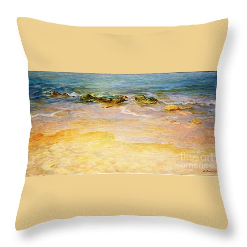Sea Throw Pillow featuring the painting Comfort. by Maya Bukhina