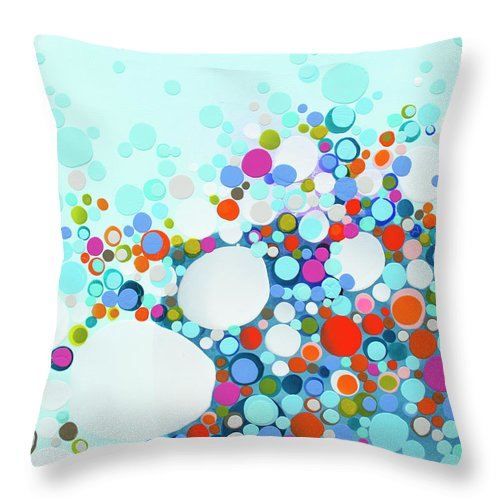 Abstract Throw Pillow featuring the painting Comfortable In Chaos by Claire Desjardins
