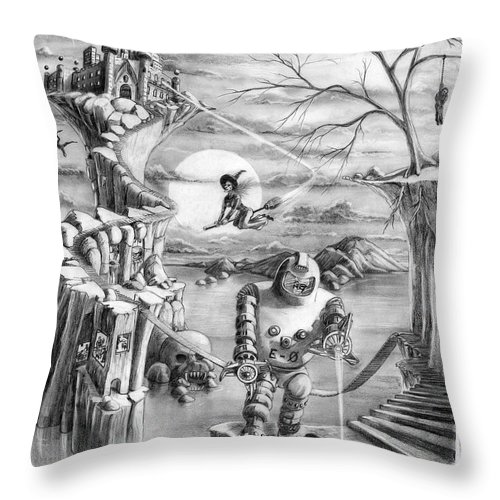 Witch Throw Pillow featuring the drawing Comic Book Cover by Murphy Elliott