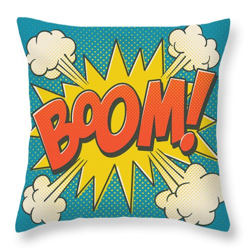 Comic Throw Pillow featuring the digital art Comic Boom on Blue by Mitch Frey