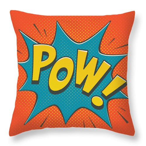 Comic Throw Pillow featuring the digital art Comic Pow by Mitch Frey