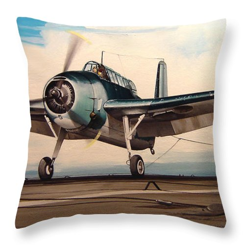 Painting Throw Pillow featuring the painting Coming Aboard by Marc Stewart